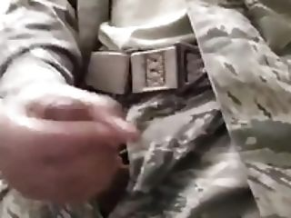 Horny Solider Drains Off & Cums At Work