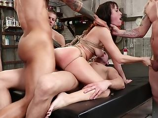 Servant Dark-haired Whore Alana Cruise Tied Up And Group-fucked