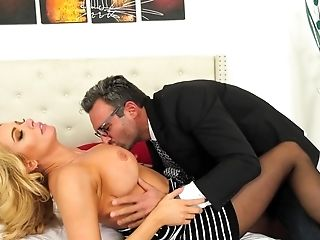 Blonde With Giant Tits Is Very Excited And Hubby Comes In Time