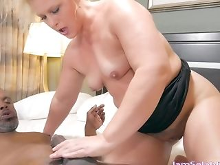 Plane-chested Blonde Granny Slams Big Black Schlong On The Couch