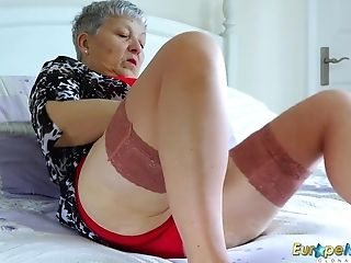 Grand-ma Is Undressing Down Temptingly Taunting With Her Sexy Assets