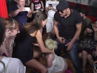 Blonde Wearing Band Has To Suck Dicks And Eat Vulva At A Bar