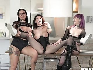 Three Tarts In Undergarments Give Head And Get Fucked By One Fellow