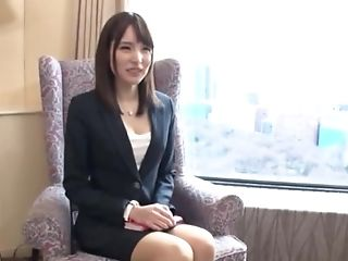 Ultra-cute Japanese Assistant Deep-throats Bone And Fucked Rear End At A Job Interview