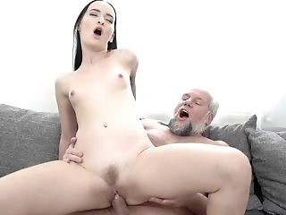 Puny-tittied Dark Haired From Russia Is Fucked In Vag By Old Man