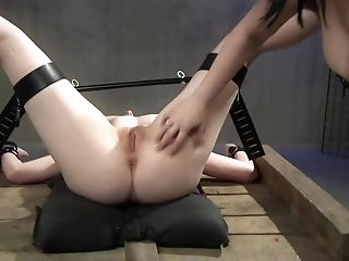 Bondage & Discipline With Leathered Up Honey Using Her Thumbs To Torment Her