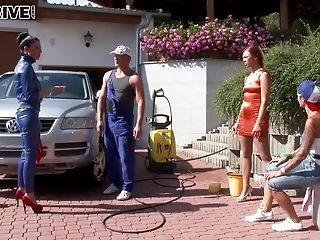 Lucky Mechanic Takes A Leak All Over The Faces Of Pretty Honies