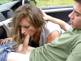 Cougar Mom Bj's Boy's Stiffy On The Side Of The Road