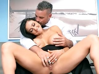 Black-haired Assistant Fucked Hard Over The Office Table
