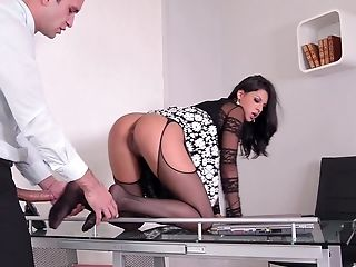 Coco De Mals Feet Sprayed With Jizm By Two Guys In The Office