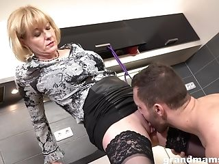 Matures Blonde Manhandled In The Kitchen Wearing Underwear