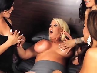 Huge-titted Mummy Pornographic Star Ganged Banged By Three Hot Shemales