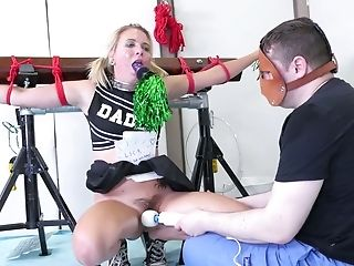 Yummy Cheerleader Permits To Fuck Her Deep Hatch And Plaything Ass Fucking Slot With Beads