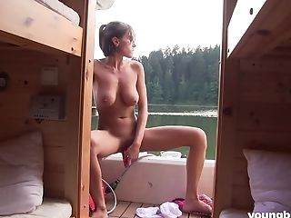 Youthful Big-boobed Gf Anabelle Is Playing Raw Fuckbox On The Boat