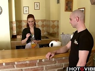 Providing This Bartender A Big Facial Cumshot
