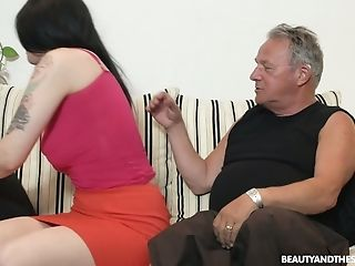 Whorey Youthfull Chick Sheril Blossom Hooks Up With One Pervy Old Fart
