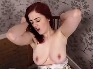 Buxom Ginger-haired Jaye Rose Shows Her Bj Abilities On A Faux Bone