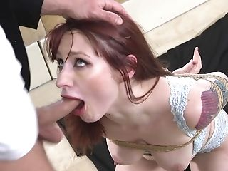 Red-haired Whore Violet Monroe Ball Ball-gagged And Pounded In Tying