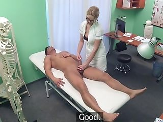 Trampy Blonde Nurse Works Her Magic On A Masculine Patient In Need